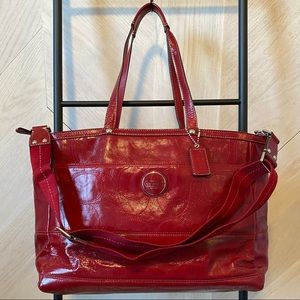 Coach red leather baby bag/ tote